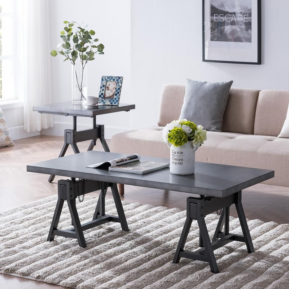 Southern Enterprises Forte 48 In Distressed Gunmetal Gray Large Rectangle Metal Coffee Table With Lift Top Hd531496 The Home Depot Coffee Table Adjustable Height Coffee Table Adjustable Coffee Table [ 1000 x 1000 Pixel ]