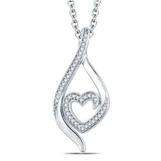 Zales 1/5 CT. T.w. Princess-Cut Diamond Heart Cluster Pendant in Sterling Silver AuA1wENr56