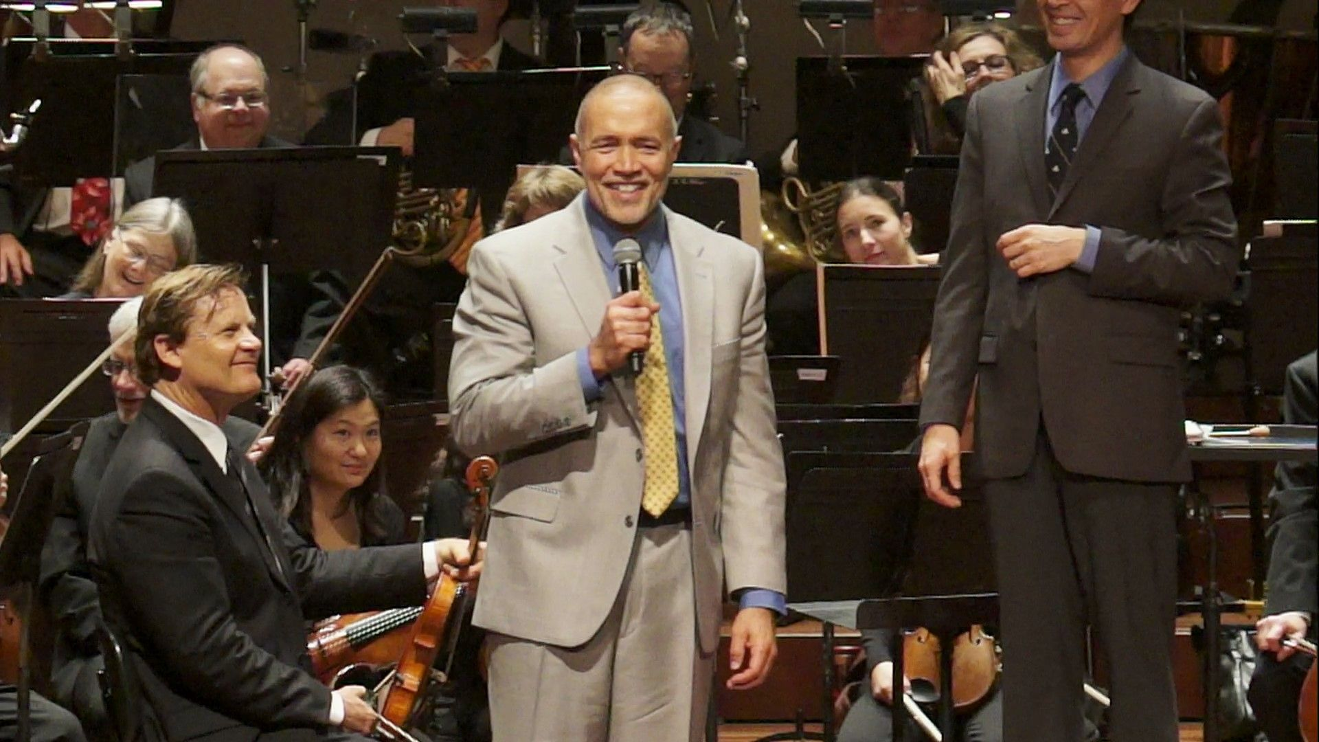 """Composer Michael Abels speaks to the audience about his piece """"Dance for Martin's Dream"""" which was performed at our Everyday Heroes concert in January."""