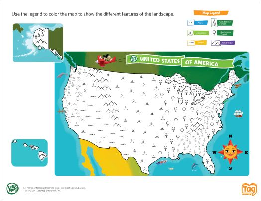 LeapFrog printable: United States Map Coloring Page- Delve into the ...