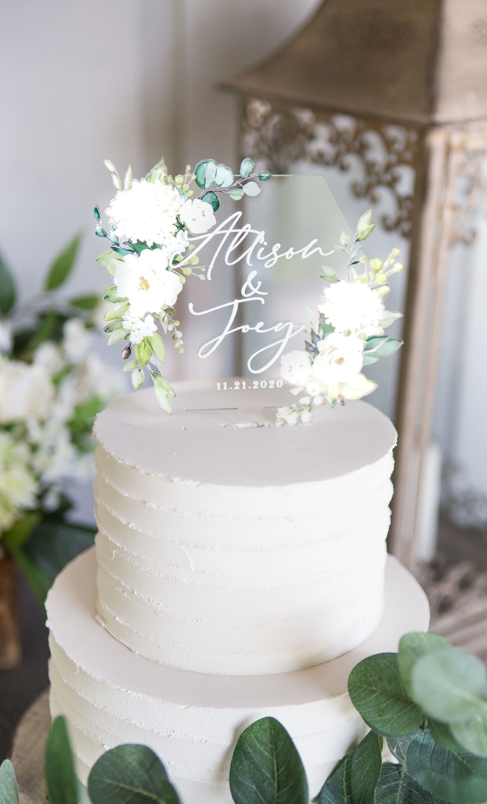 Wedding Cake Topper Clear Acrylic Floral Personalized Cake Etsy In 2020 Wedding Cake Toppers Personalized Wedding Cake Toppers Acrylic Cake Topper