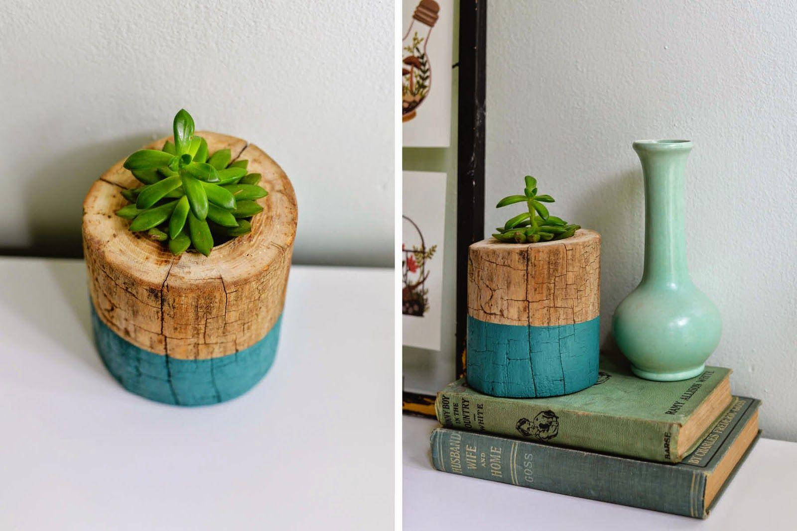 HOME & GARDEN: DIY : Un tronc d'arbre transformé en pot de fleur