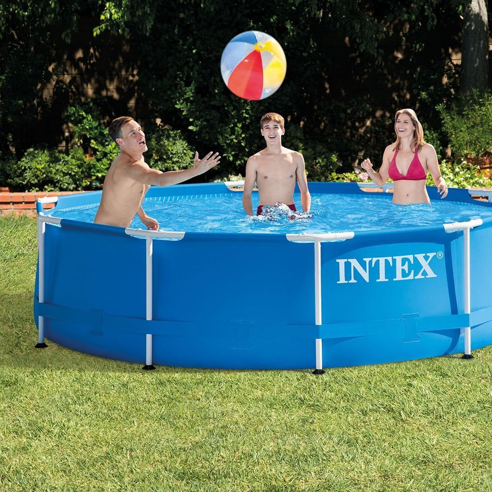 Metal Frame Above Ground Swimming Pool with Filter Pump Intex 10\' x ...