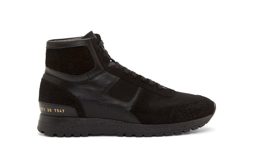 buy popular 5e332 6a221 Robert Geller Navy   Gold Suede Colorblock High-Top Sneakers   haute  sneakers   Winter sneakers, Common projects, High Top Sneakers