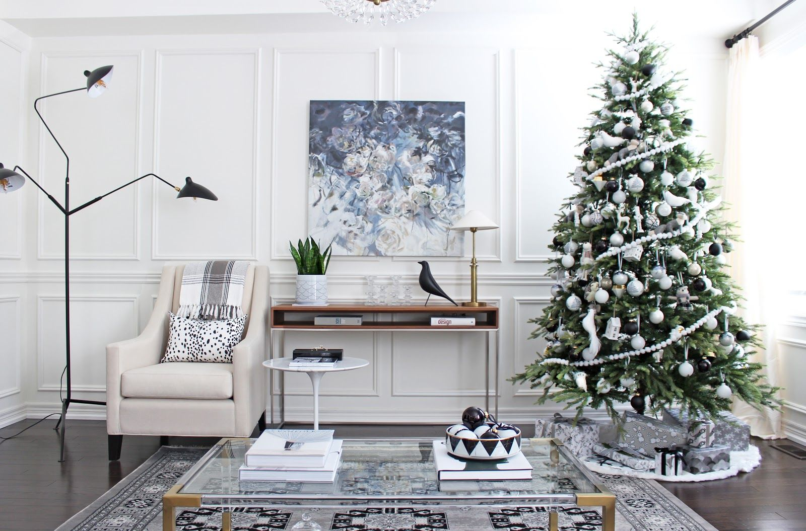 Serge Mouille Floor Lamp, Black And White Christmas Decor, Black And White  Christmas Tree
