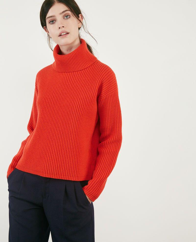 Pull Avec Col Roulé En 100 Laine Orange Red Dacheville Winter Blues Fashion Turtle Neck