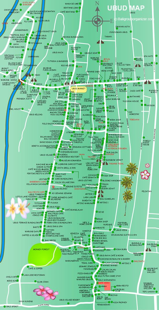Ubud Map Is A Detail Of Village Famous Tourist Place In Bali Island Featured By Cool Temperatures Luxury Villas And Hotels Restaurants