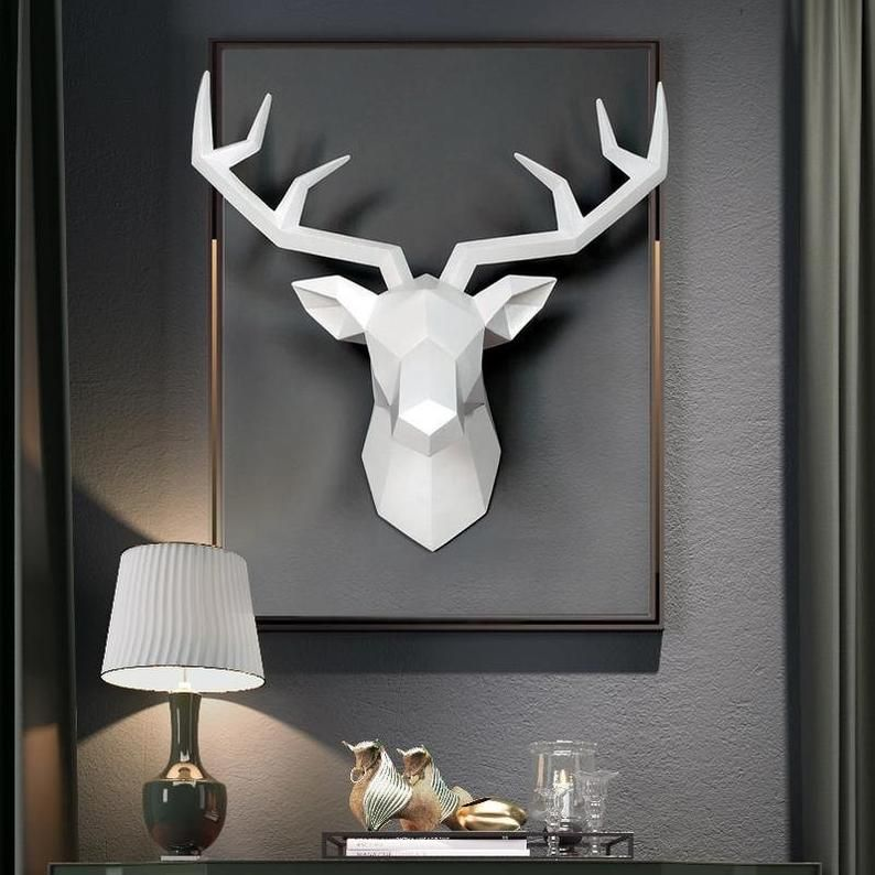3d Abstract Deer Head Wall Mount Head Faux Animal Heads Home