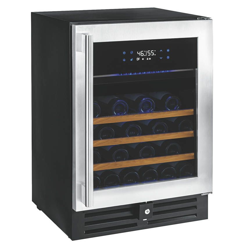Wine Enthusiast Nu0027FINITY PRO HDX 46 Bottle dual zone wine cellar with stainless steel lockable door trim. This sleek wine cellar is sure to light up any ...  sc 1 st  Pinterest & Wine Enthusiast Nu0027FINITY PRO HDX 46 Bottle dual zone wine cellar ...