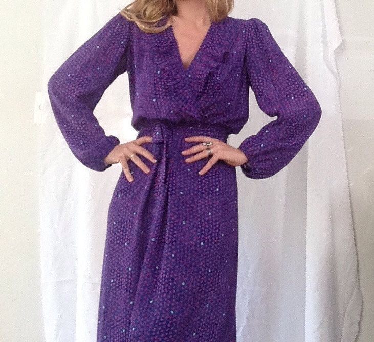 Vintage Jody California Dress | Royal Blue | Purple | Pink Butterfly | Spring | Flowy | Flirty by VampRodeoVintage on Etsy
