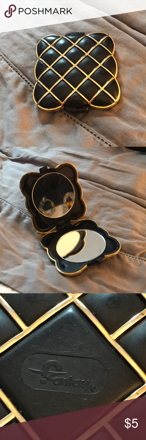 Black & Gold Compact Mirror Used, needs a new home in