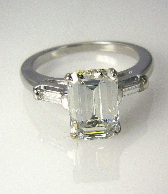 2 26ct Estate Vintage Emerald Cut Diamond SOLITAIRE Engagement