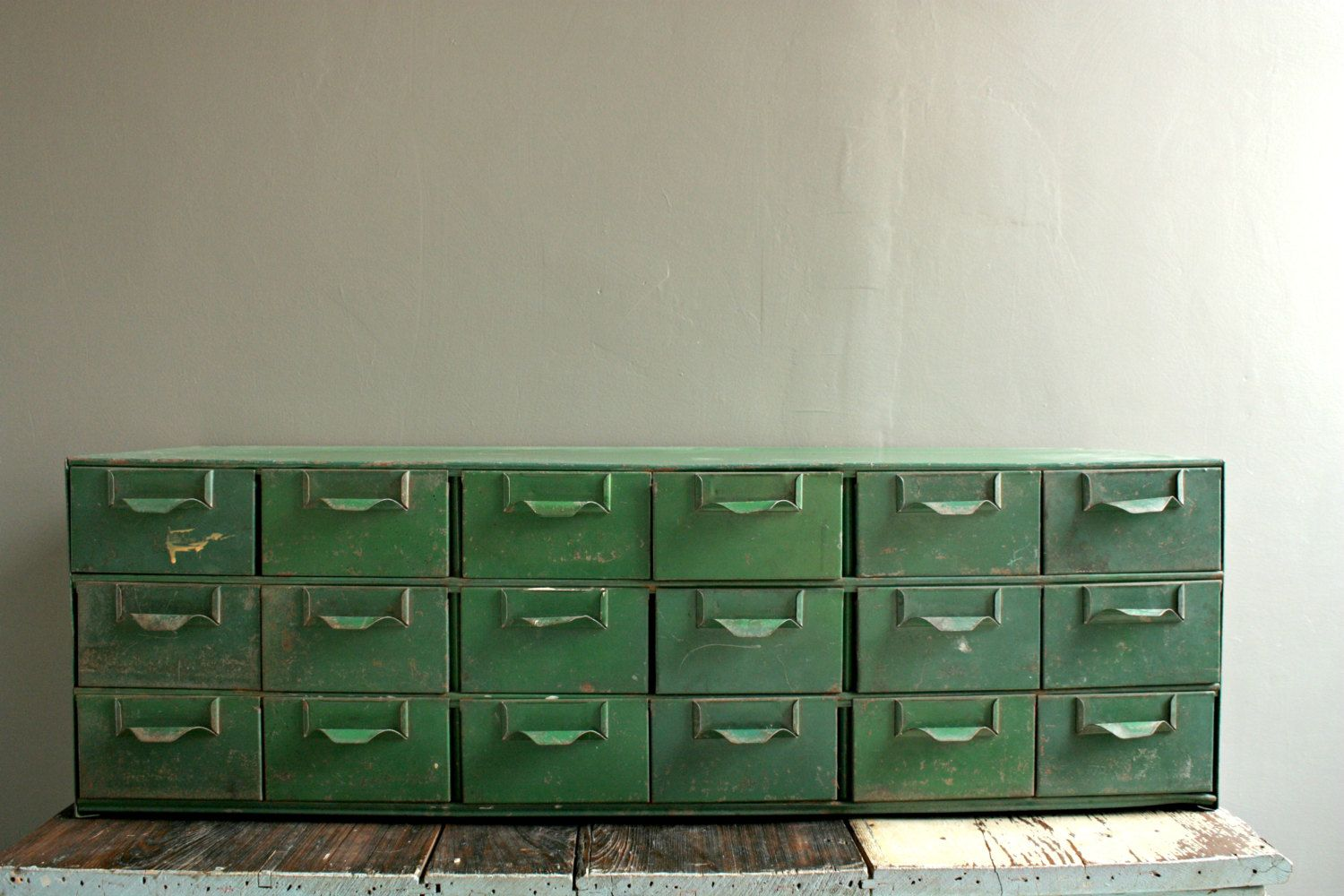 Vintage Card Catalog 18 Drawer File Cabinet by OurVintageBungalow - Clean It Up, Prime It , Repaint It In An Emerald Green!!!! This
