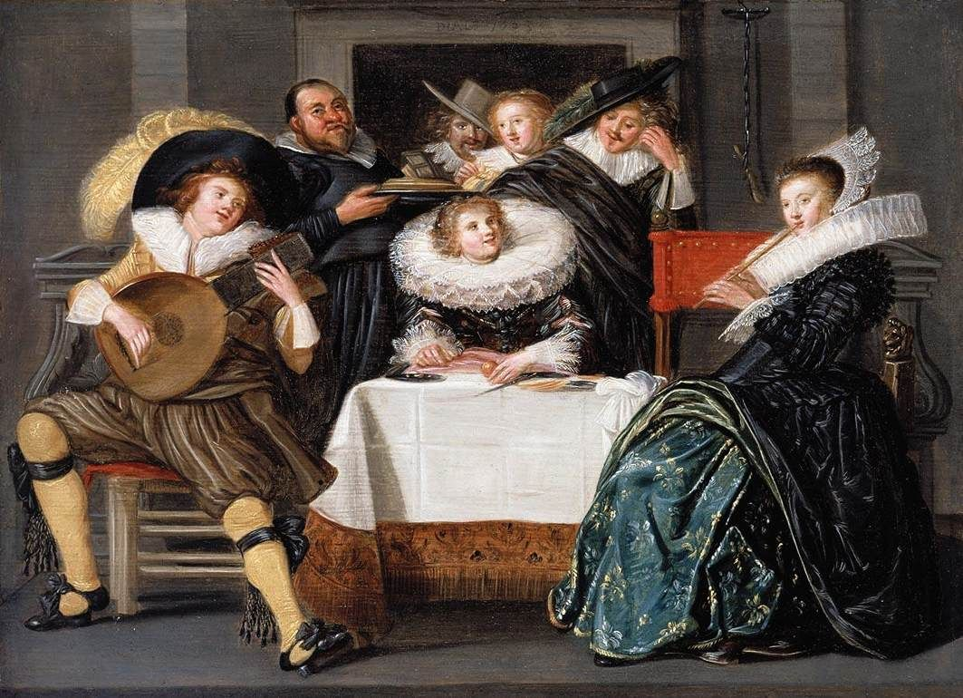 Dirck Hals (Дирк Халс, 1591-1656, Dutch Baroque Era painter). A Merry Company Making Music 1623 Private collection