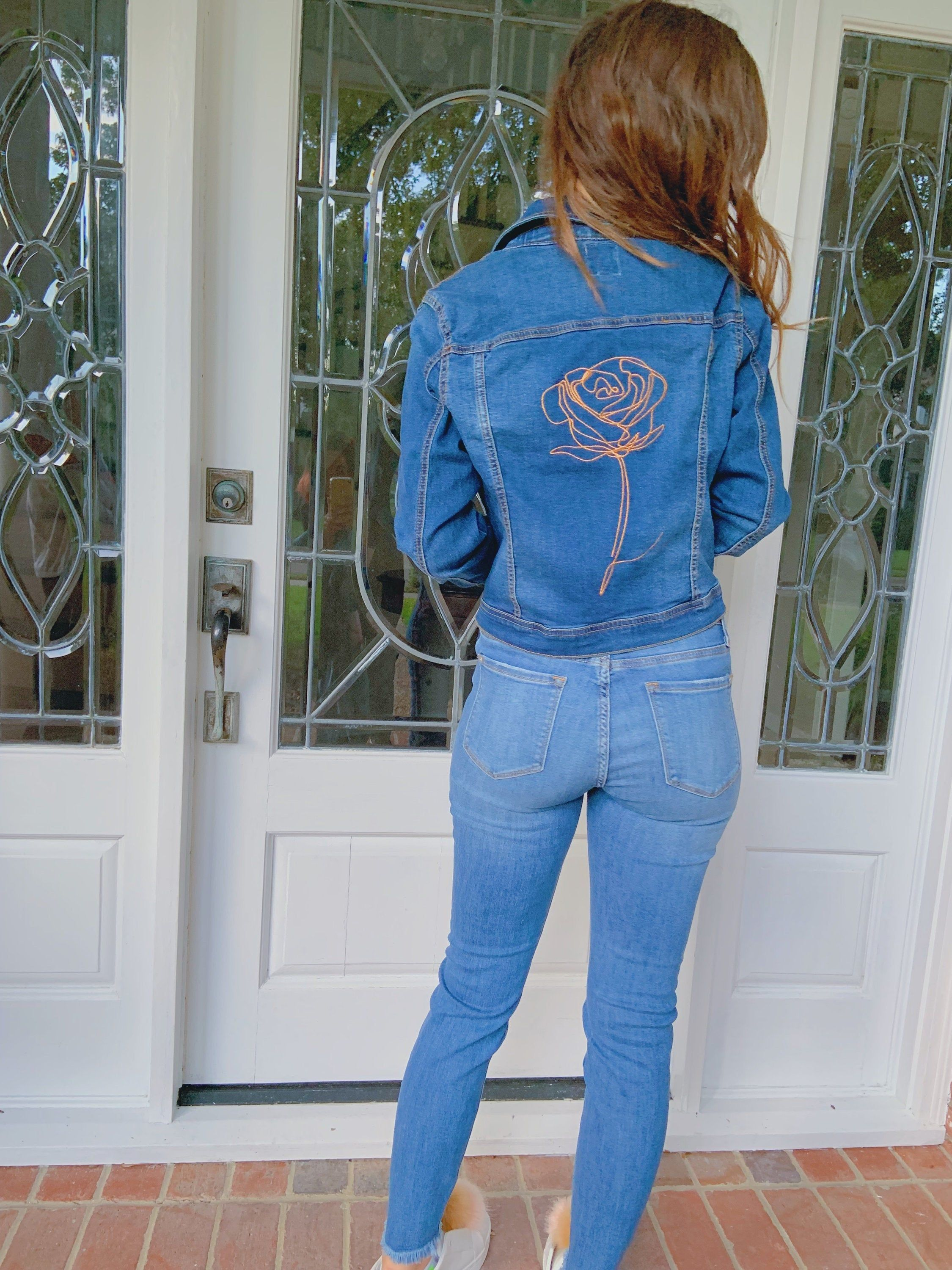 Rose Patch Denim Jacket Ethical Streetwear Aesthetic Clothing Etsy Rose Patch Denim Denim Jacket Patches Denim Street Style [ 3000 x 2250 Pixel ]