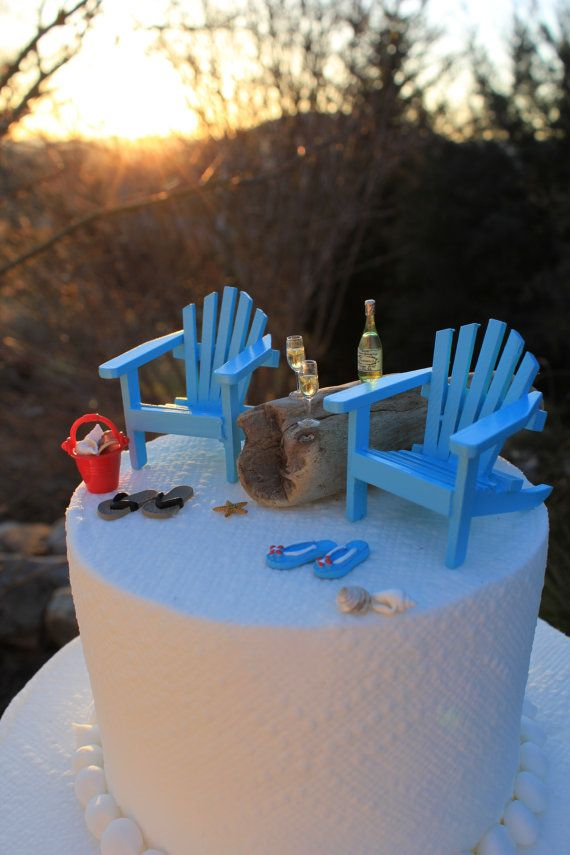 Beach Theme Wedding Cake Topper Classic By LandscapesNMiniature, $43.50