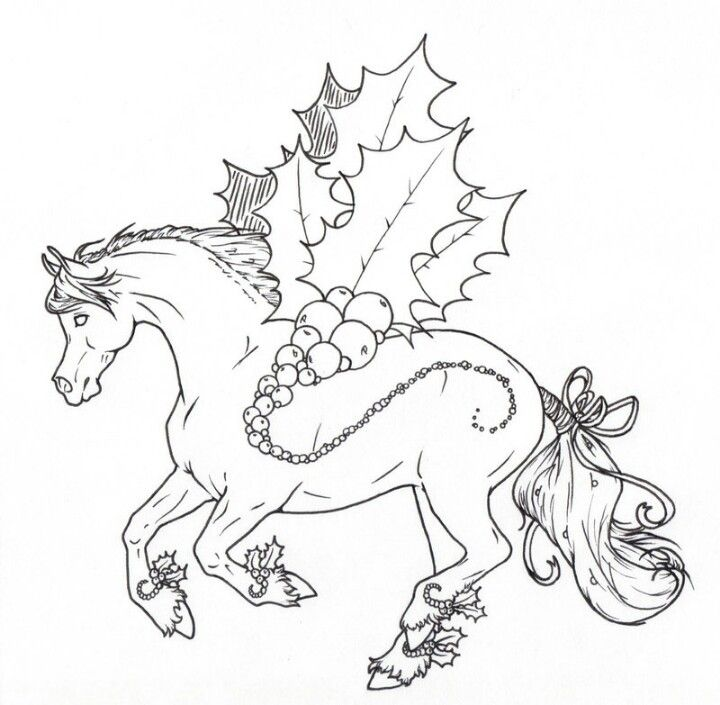 Holly Jolly Christmas Lines Horse Coloring Pages Horse Coloring Coloring Books