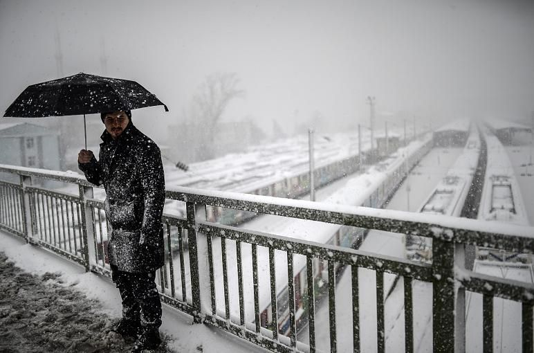 Turkey, Istanbul, on February 18, in 2015: Turkey also has the winter fully caught. The image comes from Istanbul. Ataturk International Airport was closed because of a snow storm.