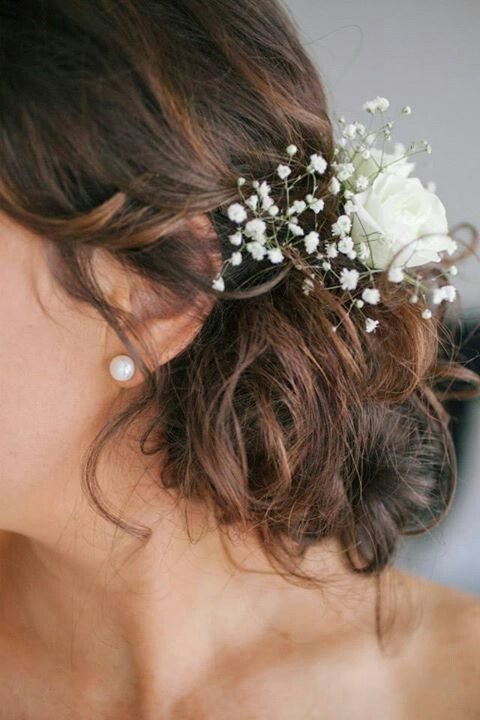 Hair With White Spray Roses And Gypsophila
