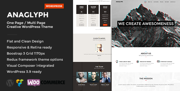 ANAGLYPH One page / Multi Page WordPress Theme