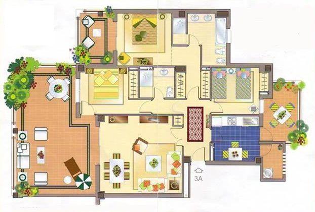 Planos de casa con cuartos bien distribuidos buscar con for Planos de casas con patio interior