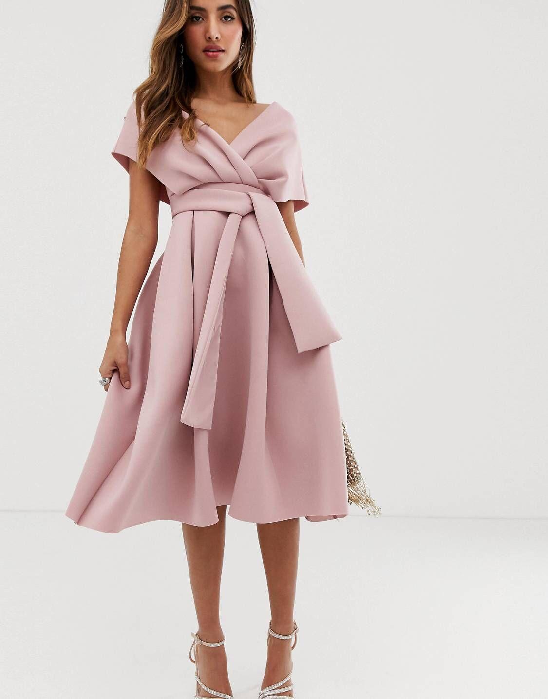 c9391cec6c9eb DESIGN Fallen Shoulder Prom Dress with Tie Detail in 2019 | Wear it ...