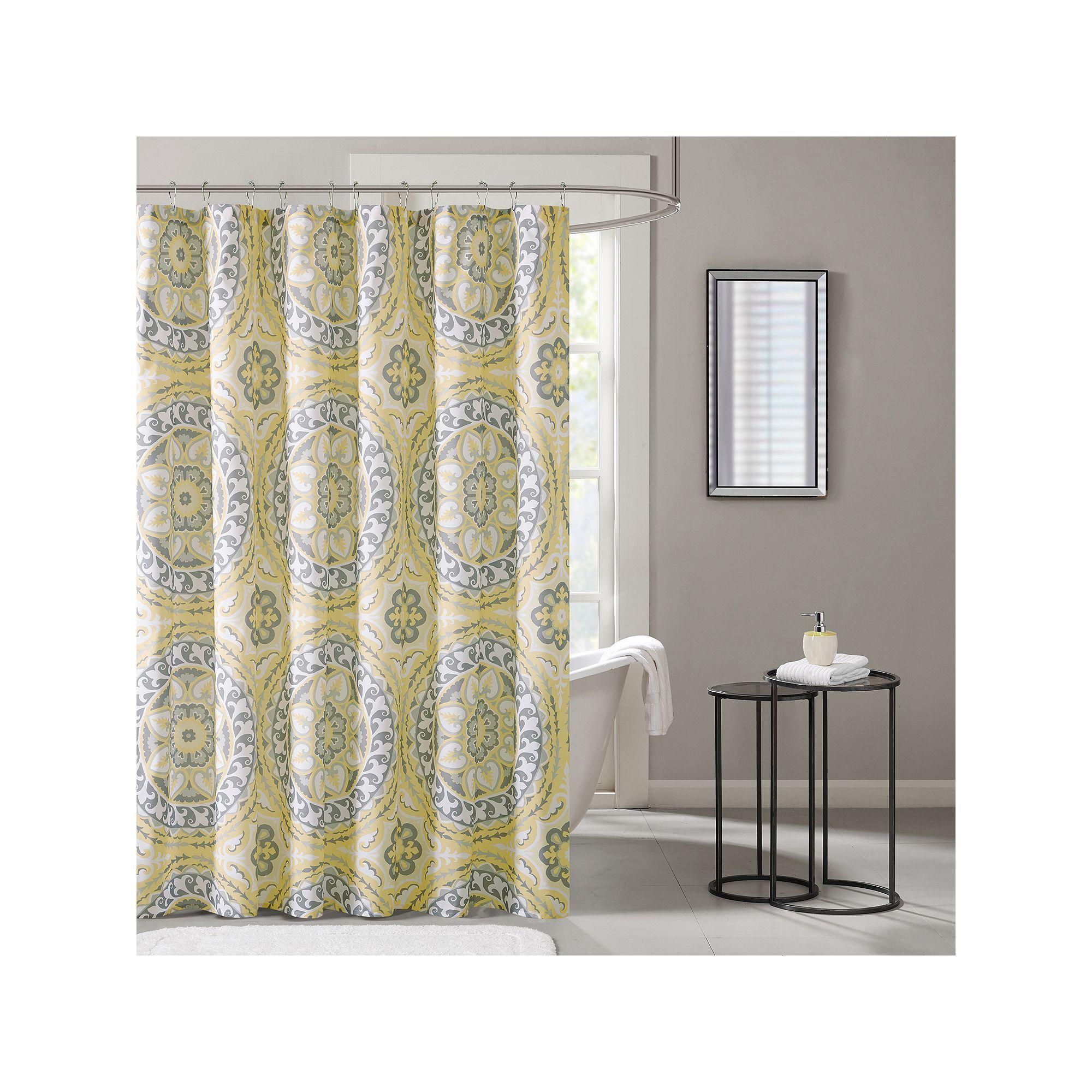 Madison Park Essentials Medallion Shower Curtain Yellow