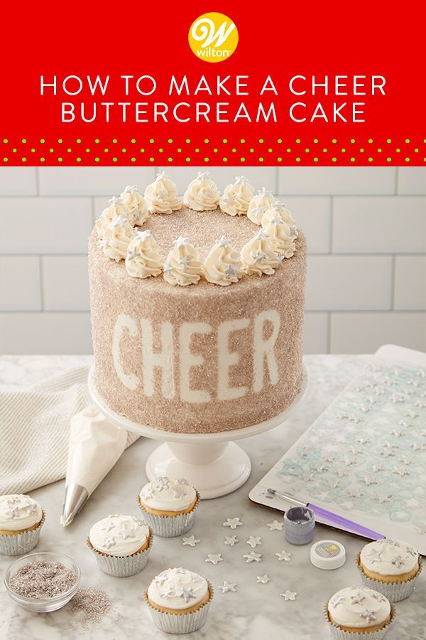 Whether you're celebrating Christmas or New Year's Eve, this Cheer Buttercream Cake is a great way to sweeten your celebration. Covered in silver pearlized sugar and topped with buttercream swirls and candy stars, this cake is sure to satisfy anyone's sweet tooth! Top your cake with a fun banner or some sparkling candles to finish off the look! #wiltoncakes #winter #cakedecoarting #sprinkles #homemade #baking #christmas #snow #cakeideas #cheery #easy #simple #beginner #christmasparty #newyears