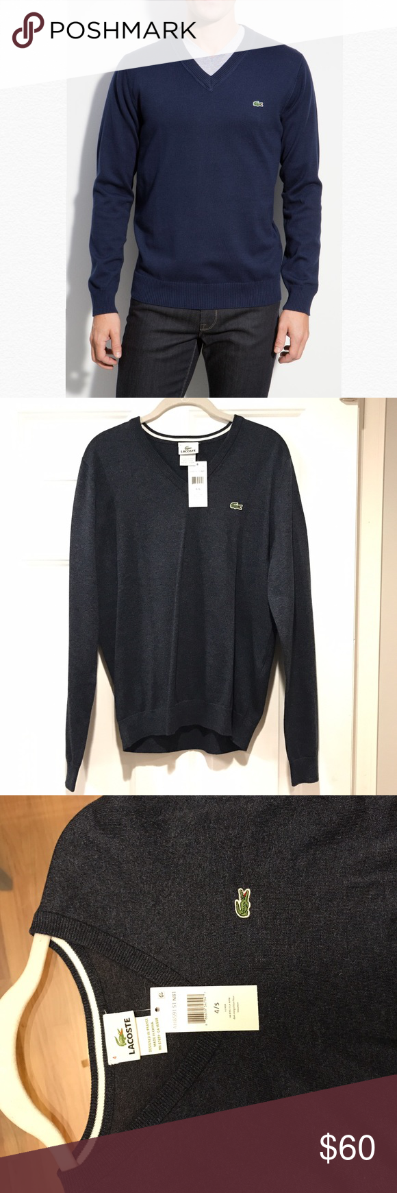 Lacoste Men's Navy V-Neck Sweater NWT | Colors, The o'jays and ...