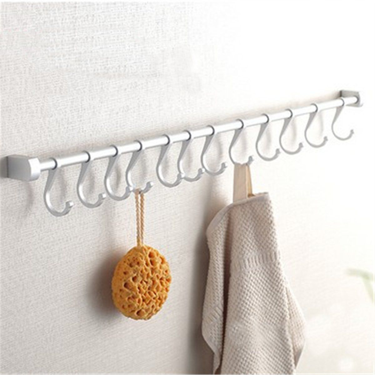 Superior 12 Hooks Kitchen Utensil Set Wall Mounted Rail Hooks Hanging Storage Rack  Bathroom Holder