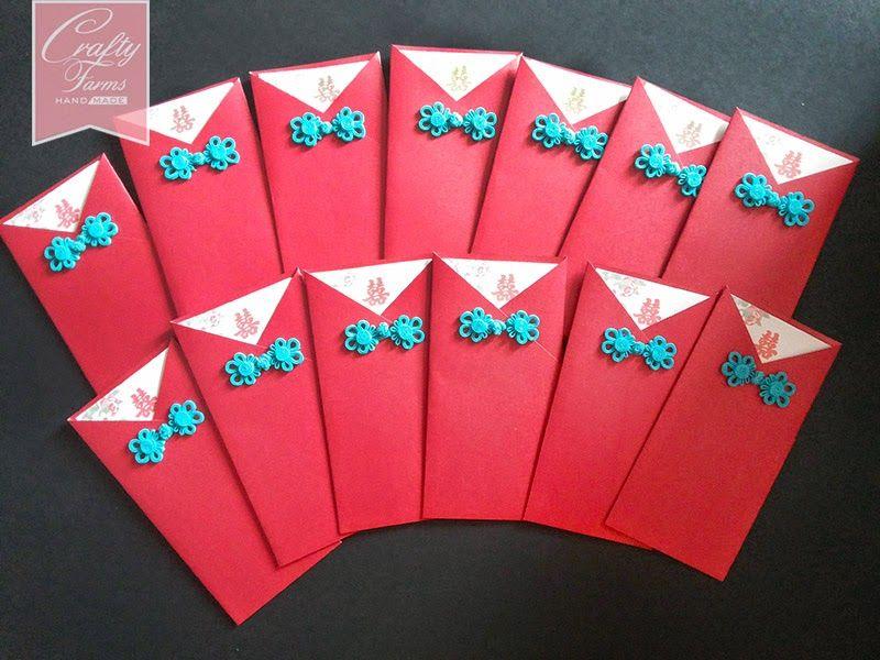 Oriental Red Pocket Wedding Card with Blue Chinese Button Handmade - best of wedding invitation card kota kinabalu