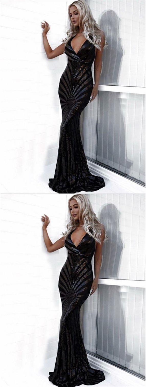 Mermaid vneck sleeveless backless black sequined prom dress prom