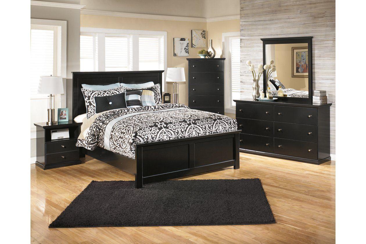 Maribel Queen Panel Bed Ashley Furniture Homestore In 2021 Black Bedroom Furniture Set Black Bedroom Furniture Bedroom Sets