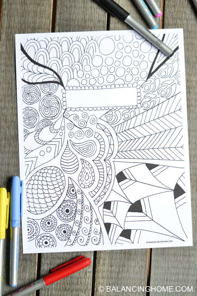 Coloring Book Cover Ideas : Coloring page binder cover printable doodles and