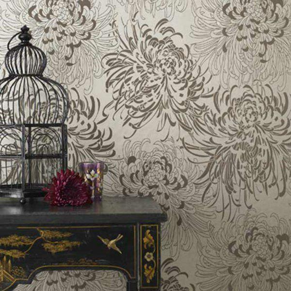 ausgefallene tapeten blumenmuster patterns fabric Pinterest - goldene tapete modern design