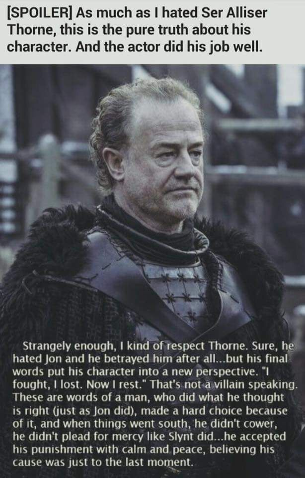 Jon Snow  Lord commander Sir Alliser Thorne  | a song of ice & fire