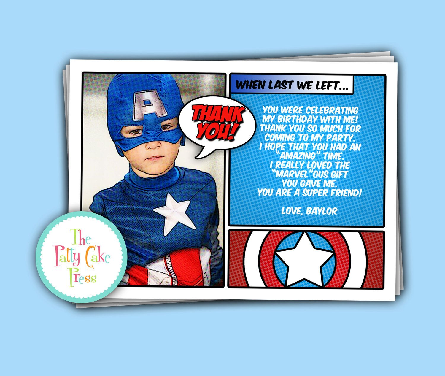 Captain America Thank You Cards Custom Printable Digital File Birthday Party Gift B Captain America Birthday Superhero Birthday Party Avengers Party Invitation