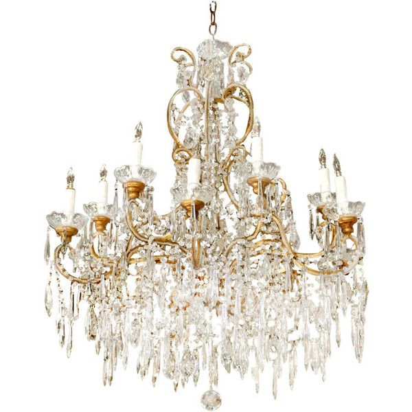 Mary Ann Jones Antiques - Circa 1940 Big 12 Light Double Beaded... ❤ liked on Polyvore featuring home, lighting, ceiling lights, fillers, furniture, lamps, chandeliers, chandelier chandelier, crystal chandelier light and crystal ceiling lights
