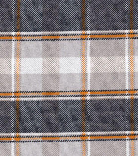 Snuggle Flannel Fabric - Orange Brown Plaid