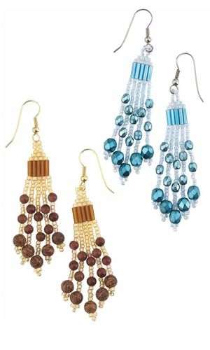 Earrings with Gemstone Beads, Czech Fire-Polished Glass Beads and Seed Beads - Fire Mountain Gems and Beads
