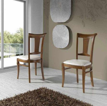 sillas de comedor clásicas tapizadas en tela. Con mesa rustica ...