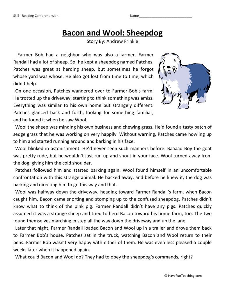 Reading Comprehension Worksheet Bacon and Wool Sheepdog – Reading Comprehension Worksheet 3rd Grade