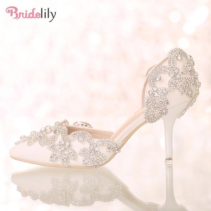 Rhinestone Closed Toe Wedding Pumps Bridelily Bridal Shoes Low Heel Wedding Pumps Rhinestone Wedding Shoes