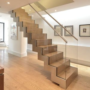 Best Straight Staircase Steel Frame Wooden Steps With 640 x 480