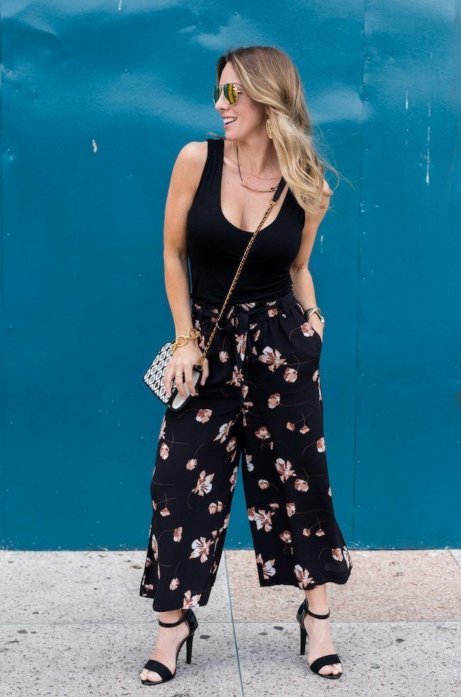 Outfit inspiration for spring - comfy floral crop pants and tank. Honey We're Home #springfashion #croppants #floralpants