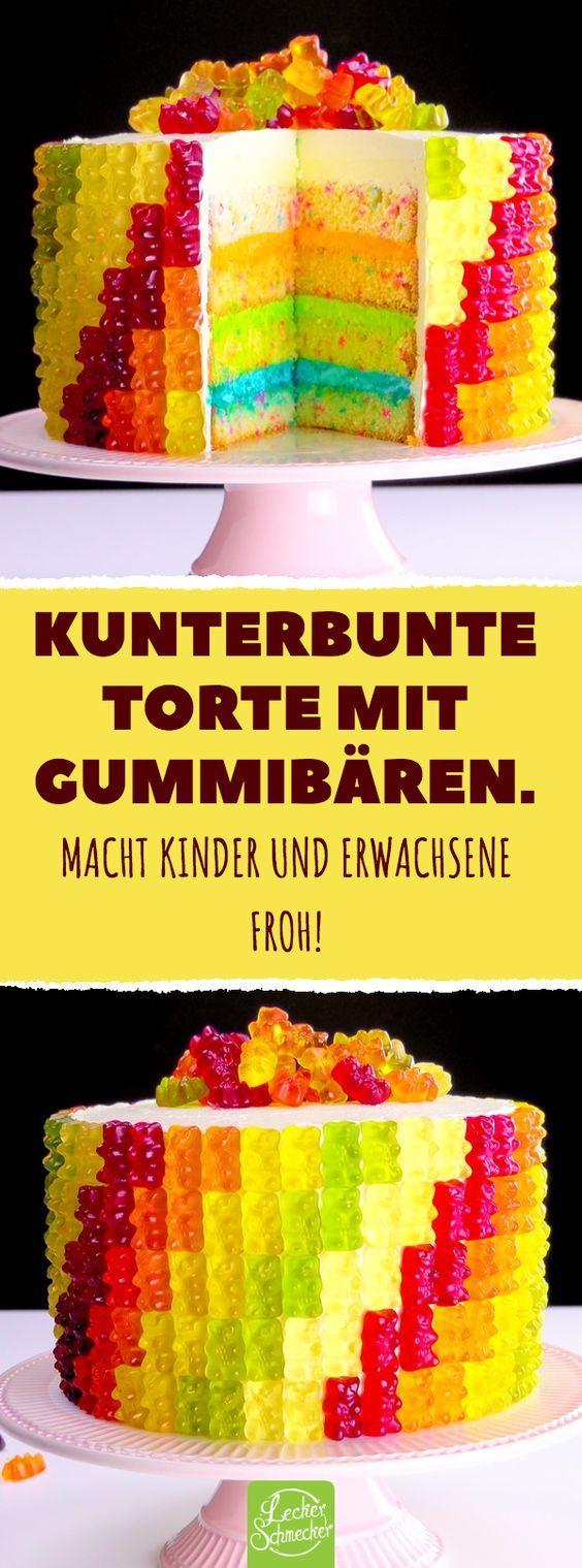 Kunterbunte Torte mit Gummibären. Macht Kinder und Erwachsene froh! #rezepte #gummibären #torte #kuchen #bunt #tortegeburtstag