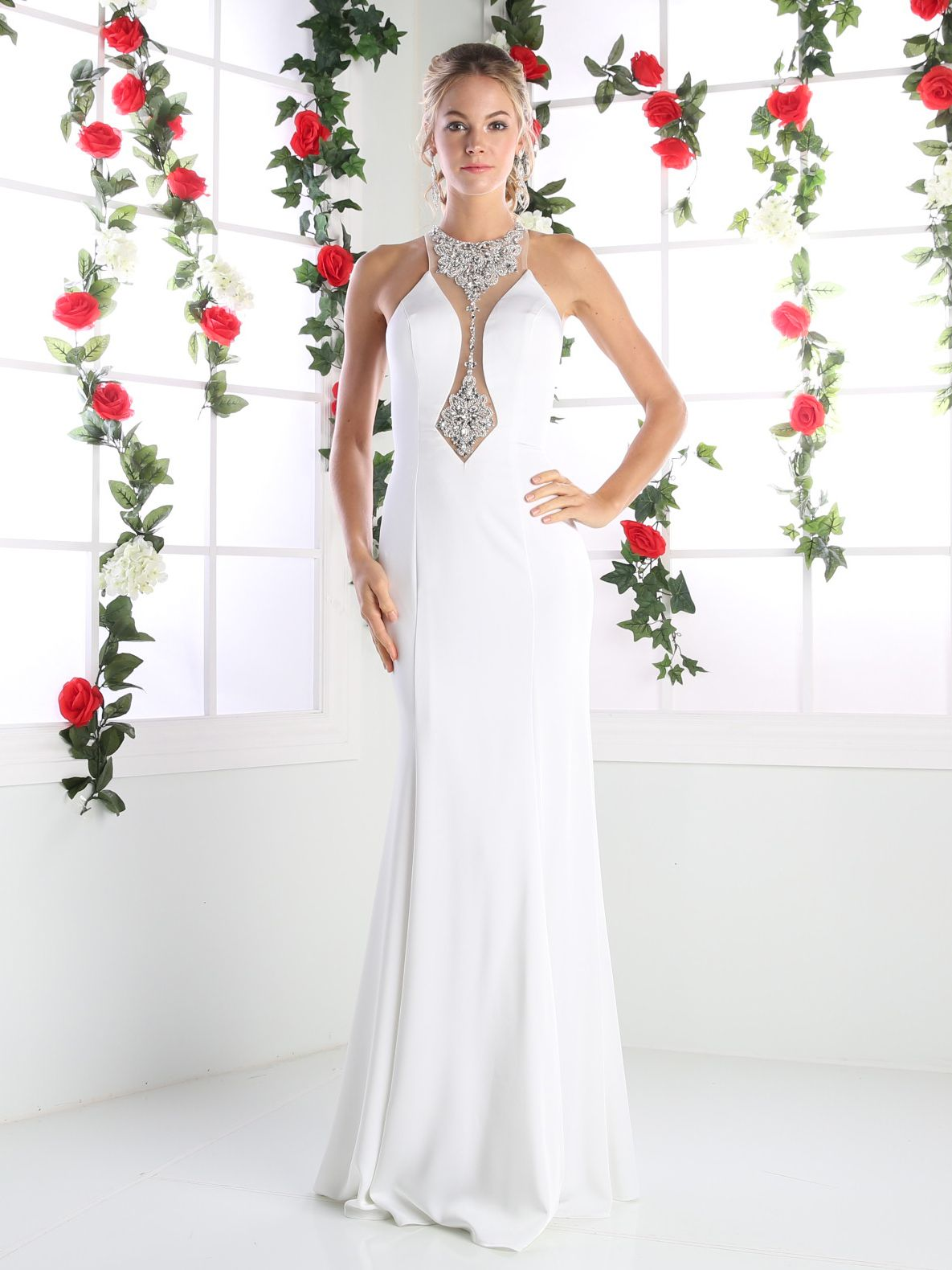 Long Evening Dress with Plunging Neckline   Cinderella Divine ...
