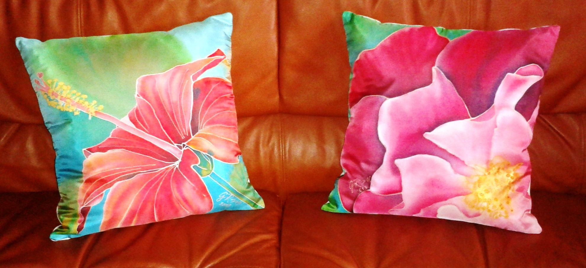 Impresion En Cojines Silk Painting Cushions Hand Made My Silk Paintings
