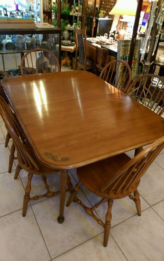 L Hitchcock Maple Dining Dinner Table And 6 Chairs 2 Leaves