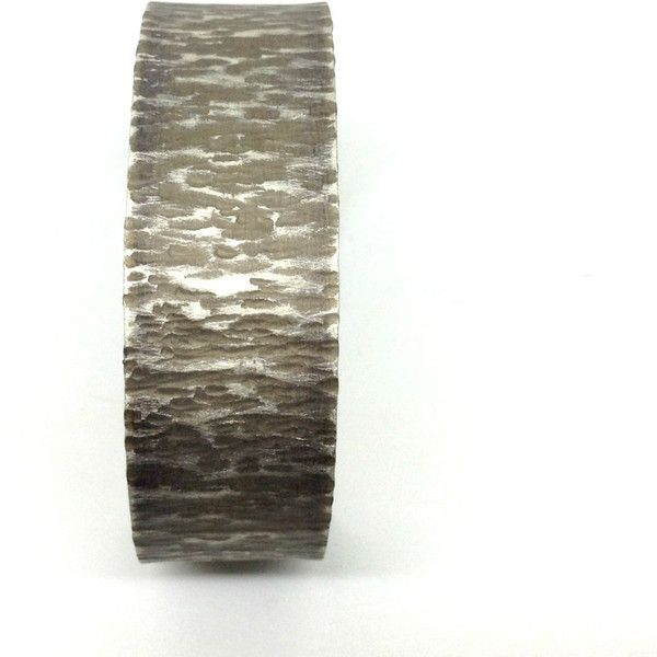 Wide Hammered Silver Cuff Bangle Handcrafted Metalwork Open Βand Cuff... ($32) ❤ liked on Polyvore featuring jewelry and bracelets